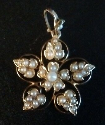 Stunning Quality Victorian Delicate 15Ct Gold, Seed Pearl Pendant