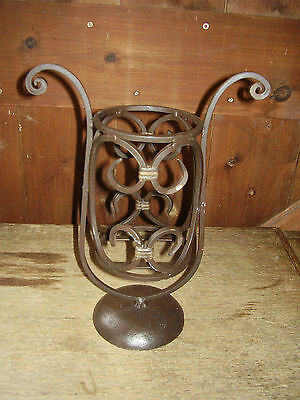 "Lovely Wrought Iron Stand, 12"" High, Dark Brown."