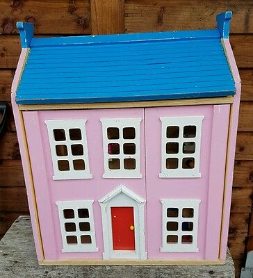 Vintage 1970's Pink Dolls House with some furniture and people