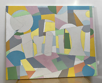 ORIGINAL ACRYLIC CANVAS ABSTRACT PAINTING PICTURE WALL ART - mid-century style