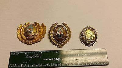 Lot of 3 Vintage Romanian military hat badges cockade