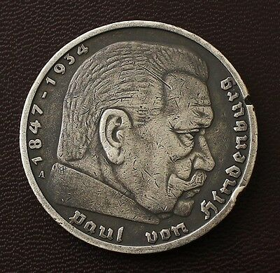 German WWII / WW2 Original. Relic 5 Mark Silver coin with Hindenburg ( 1935 A )