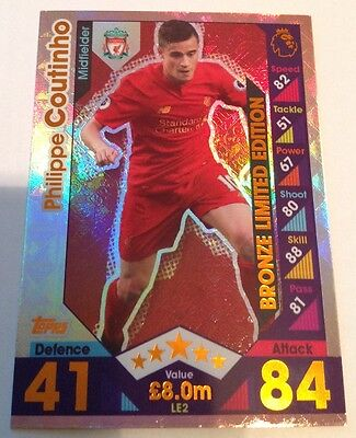 Match Attax 2016 - 2017 Bronze Limited Edition Philippe Coutinho Mint Condition