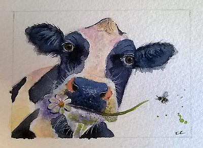 ORIGINAL ACEO watercolour animal/wildlife/art painting COW AND BEE, Clare Crush