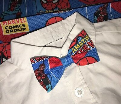 Baby-toddler Boys Clip On Bow Tie Spiderman Red Blue Superhero Marvel Web