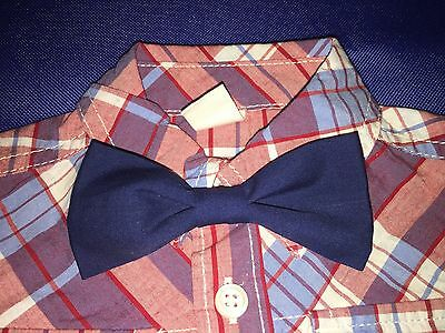Handmade Baby-toddler Boys Clip On Bow Tie Navy Blue Solid Simple Party