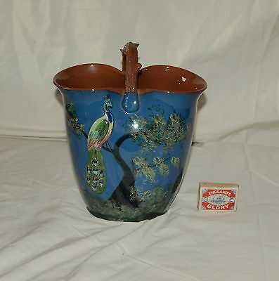 LARGE ROYAL TORQUAY PEACOCK  BASKET VASE WITH RUSTIC HANDLE 9.5 inches high