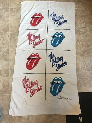 "VTG 70's 80s Rolling Stones SHEET ROCK Towel Poster Wall Hanging 60"" X 31"""