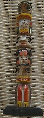 """Miniature Carved Wood Hand Painted Totem Pole 7"""""""