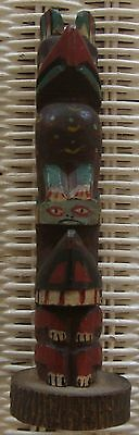 """Miniature Carved Wood Hand Painted Totem Pole 6"""""""
