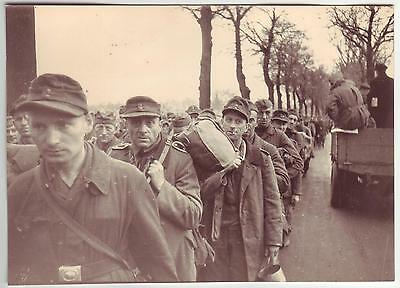 Russian Wwii Press Photo: Convoyed German Captive Soldiers, End Of War