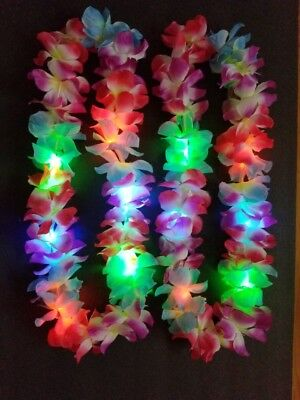 12 X LED LIGHT UP FLASHING LEI HAWAIIAN NECKLACE RAVE PARTY BLINKING FLOWER luau
