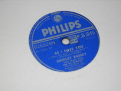 """SHIRLEY BASSEY 78 rpm record """"AS I LOVE YOU/HANDS ACROSS THE SEA"""""""