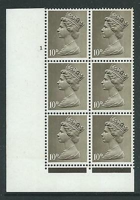 MACHIN STERLING 10d CYLINDER 1 NO DOT BLOCK OF 6 FINE UNMOUNTED MINT