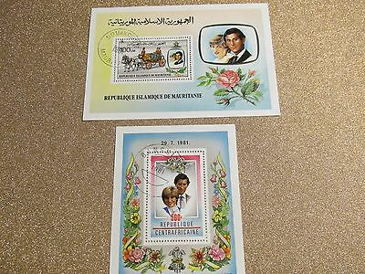 + Two Princess Diana & Charles Stamps + Mauritania & Central Africa +