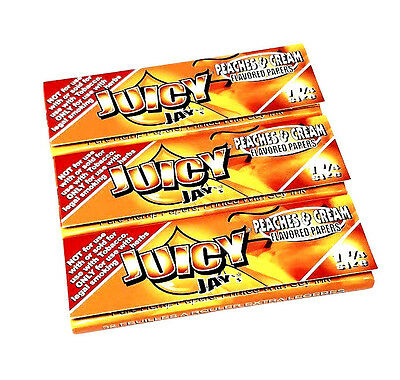 Juicy Jay's Peaches & Cream flavored rolling papers 1 1/4 Size 3 Packs 32 ea NEW