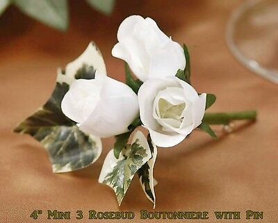 MINI WHITE 3 ROSEBUD & IVY BOUTONNIERE for GROOM & BEST MAN by VICTORIA LYNN NIP