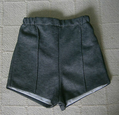 Vintage Boys Shorts - Age 4-5 -  Grey - Lined - Polyester - New