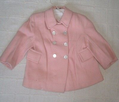 Vintage Classic  Wool Coat -Age 2 - Pink - Defects-New