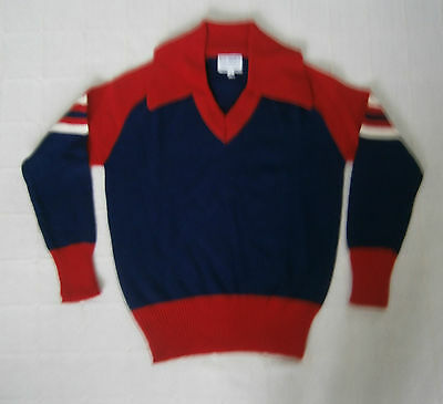 Vintage Boys Sweater - Age 14 Approx - Navy - Red Collar - Striped Sleeves- New