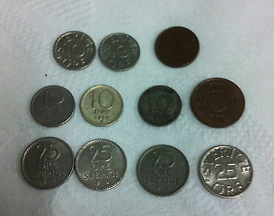 Sweden Collection of 11 Coins 1, 5, 10, 25 Ore 1934-1982