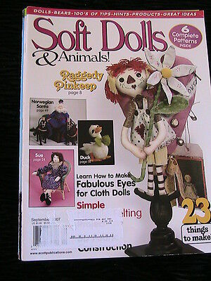 SOFT DOLLS & ANIMALS~September 2007 cloth doll patterns~techniques~tips~magazine