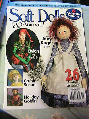 SOFT DOLLS & ANIMALS~January 2006 cloth doll patterns~techniques, tips, magazine