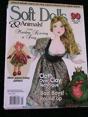 SOFT DOLLS & ANIMALS July 2009 cloth doll patterns~techniques~tips~magazine
