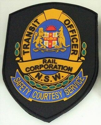 Rail Corporation NSW Transit Officer velcro backed rubber patch Not Police Fire