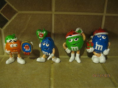 Lot of 4 COLLECTIBLE m&m Christmas Ornaments