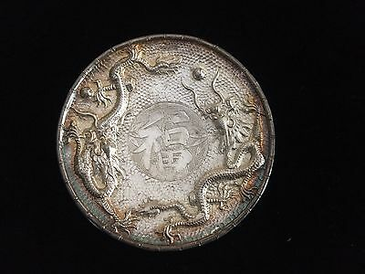 Antique Chinese Export Silver Dragon Nut Dish