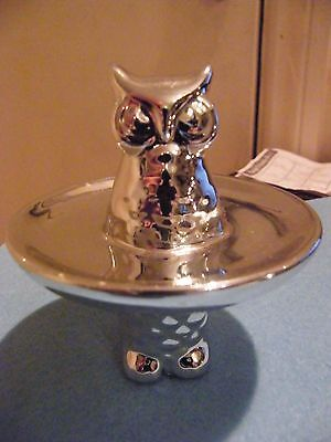 8 Cm High Owl Nibbles Dish or Decoration, Silver Colour Metal