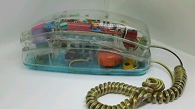 Vintage 80s Unisonic See Through Transparent Clear Neon TELEPHONE Teal Pink phon
