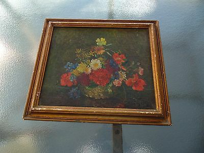 VINTAGE ANTIQUE STILL LIFE BOUQUET FLOWERS OIL PAINTING   SIGNED Mystery ARTIST