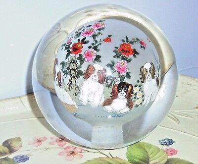 """4 1/2"""" REVERSE PAINTED cavalier king Charles spaniel DogGLASS PAPERWEIGHT"""