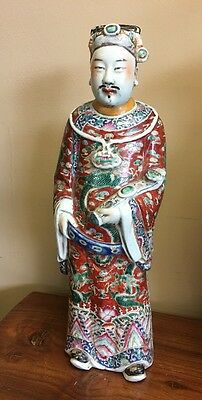 Antique 18.5in. Porcelain Chinese Figure 19th/ Early 20th c. Republic, SIGNED NR