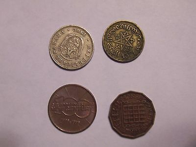 Old Foreign Coins, ( One Panama,  One Pence,  One Francs )
