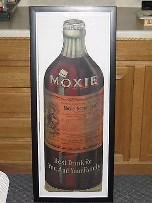 ca1890 MOXIE NERVE FOOD 36in SODA COUNTER STORE DISPLAY SIGN founder on cap RARE
