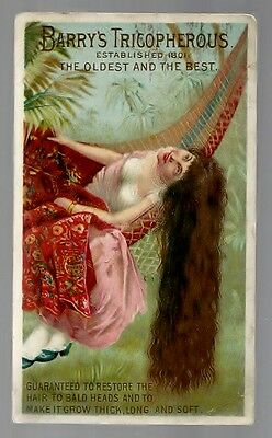 Barry's Tricopherous To Restore Hair late 1800's medicine trade card #J