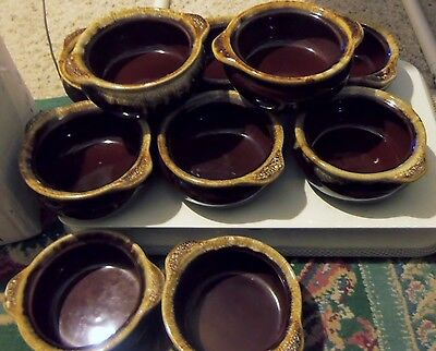 Monmouth Brown Drip Soup Chili Bowls Handled Maple leaf USA (Set of 10)