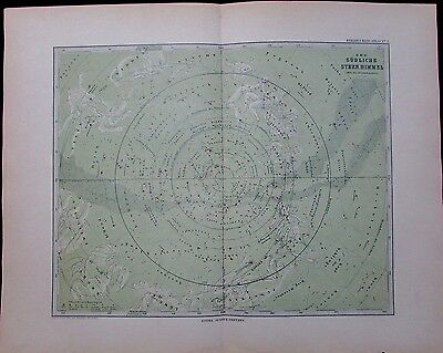Celestial Southern Starry Sky Heavens 1891 very detailed antique star chart map