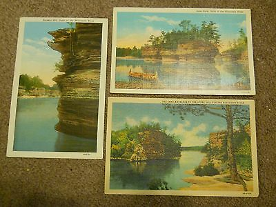 Lot of 3 Vintage Postcards from the Dells of the Wisconsin River, Wisconsin  WI