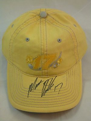 Matt Kenseth Signed Autographed Roush Racing Yellow Nascar Hat w/ 17 Inscription