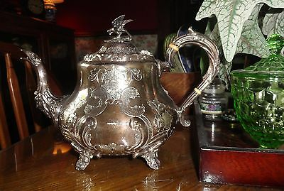 Antique  Silverplate Teapot Cooper Bros Sheffield England Hand Chased Bird Mask