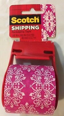"""Scotch Expressions Packaging Tape 1.88"""" x 500"""" Pink/White Baroque Pattern"""