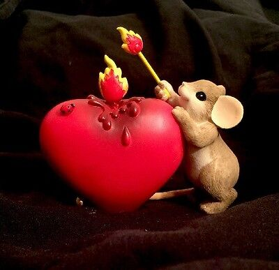 Charming Tails U Lit Fire In My Heart Valentines Day Love Enesco Mouse Figurine