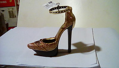 Earring and ring holder high heel  gold and copper glitter shoe design