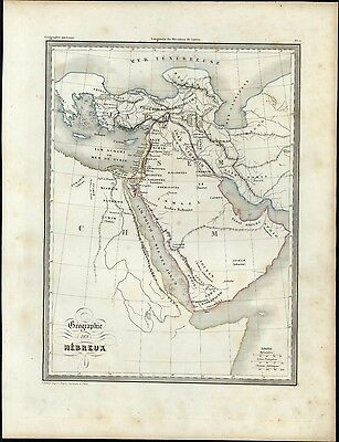 Arabia Middle East Geography of Ancient times c.1840 scarce antique map Bellier