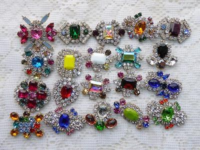 Huge Lot 20 Pieces Stunning Vintage Czech Rhinestone Buttons Nice Glass