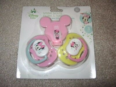 ~2 NEW DISNEY'S MINNIE MOUSE 3-PC Pacifier & Holder Set! BPA Free Cute FS:)